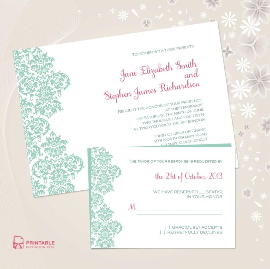 Teal Wedding Invitations Kits Damask Border Wedding Invitation Free Printable Wedding
