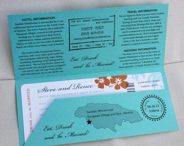 Ticket Wedding Invitations Airline Ticket Wedding Invitations Turquoise Orange And Navy