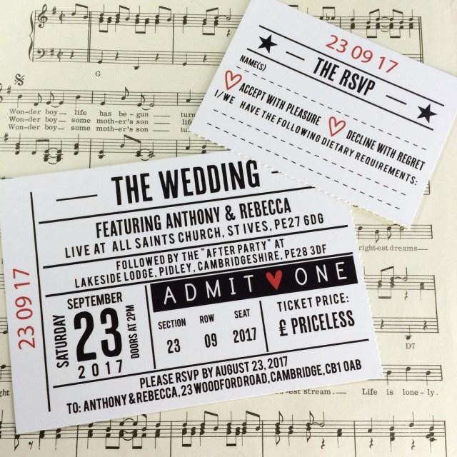 Ticket Wedding Invitations Concert Ticket Wedding Invitation Girlsgossipco