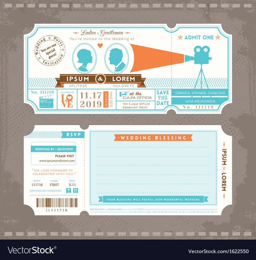 Ticket Wedding Invitations Movie Ticket Wedding Invitation Design Template Vector Image