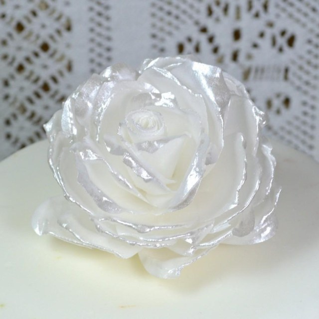 Wedding Cake Pearl Decorations Edible White Pearl Lustre Rose 3d Flowers Wedding Cake Topper