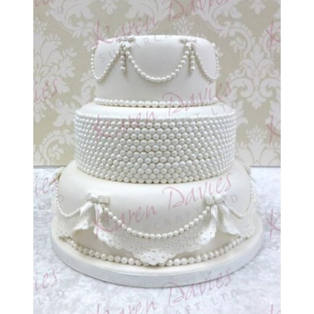 Wedding Cake Pearl Decorations Karen Davies Pearl Band Border Silicone Cake Icing Mould From 1186