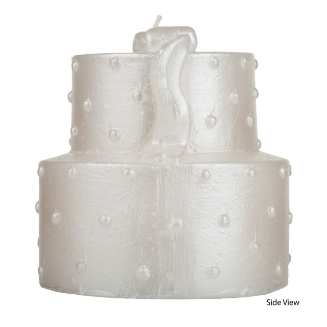 Wedding Cake Pearl Decorations Two Tier White Wedding Cake Candle Pearl Decorated Two Levels
