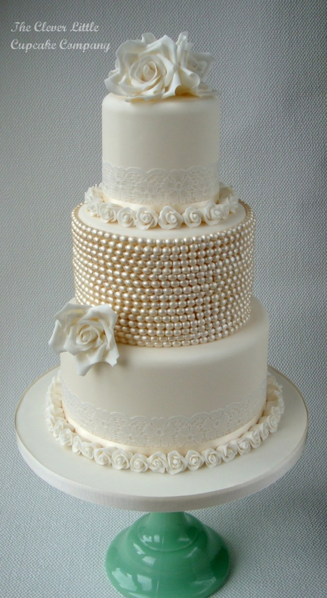 Wedding Cake Pearl Decorations Vintage Lace And Pearl Wedding Cake Cakecentral