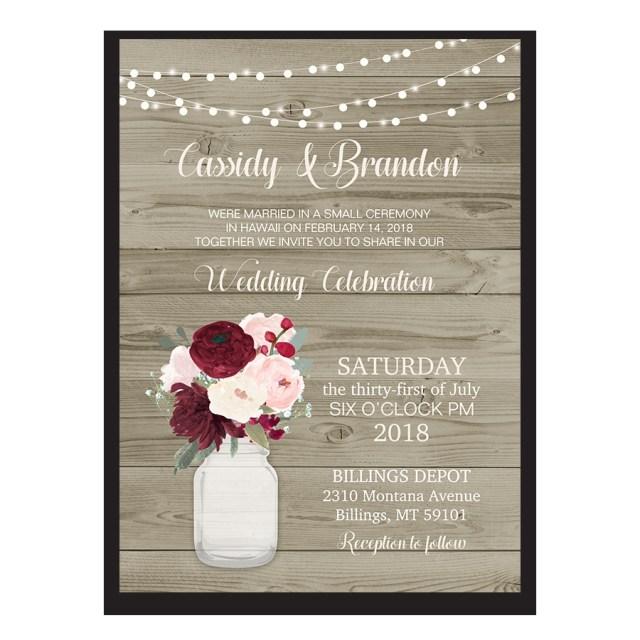 Wedding Celebration Invitations Rustic Wedding Reception Only Invitation Mason Jar