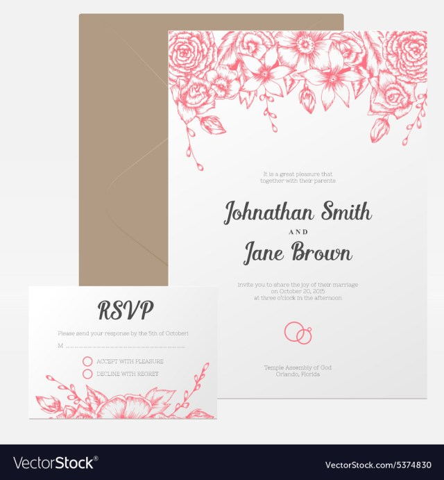 Wedding Invitation Assembly Vintage Floral Wedding Invitation Royalty Free Vector Image