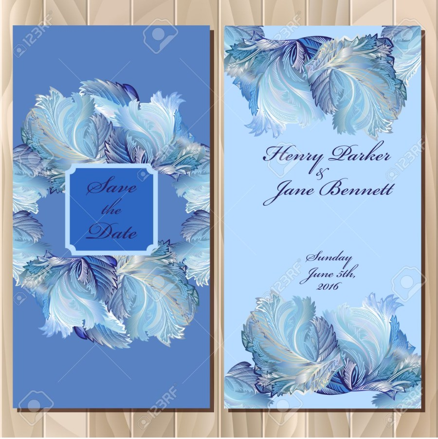 Wedding Invitation Background Blue Wedding Invitation Card With Frozen Glass Design Printable