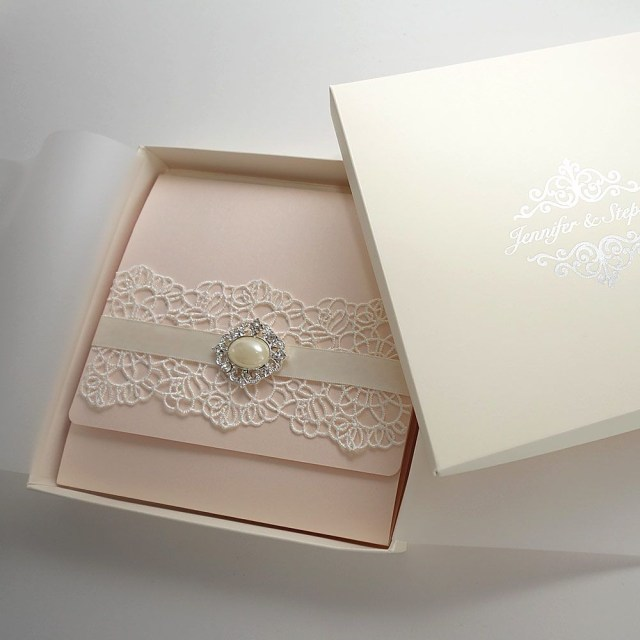 Wedding Invitation Boxes Ivory Wedding Invitation Box With Silver Foil Monogram On The Lid