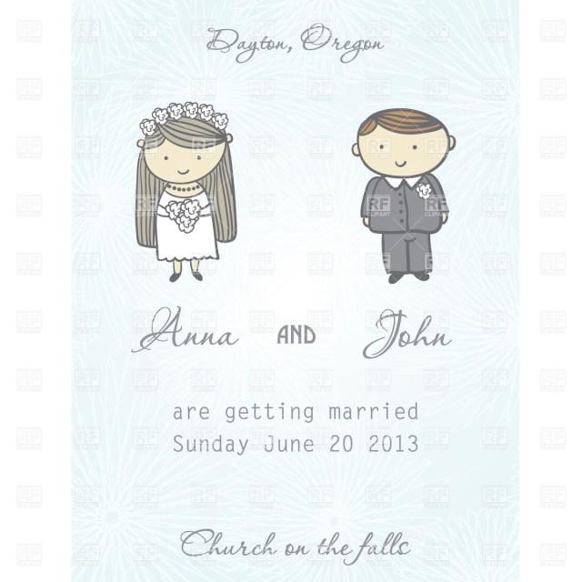 Wedding Invitation Clip Art Wedding Invitation Card With Newly Married Couple Vector