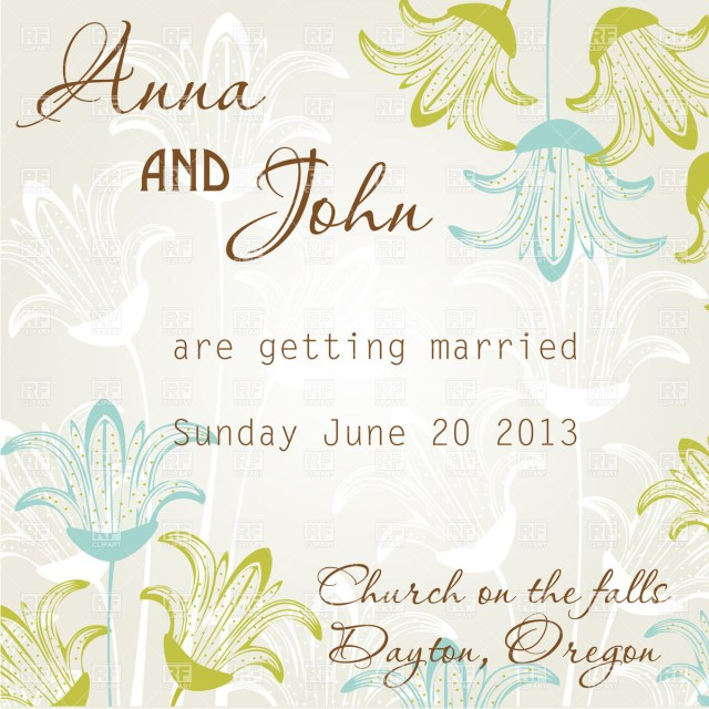 Wedding Invitation Clip Art Wedding Invitation Card With Stylized Flowers Vector Image Vector
