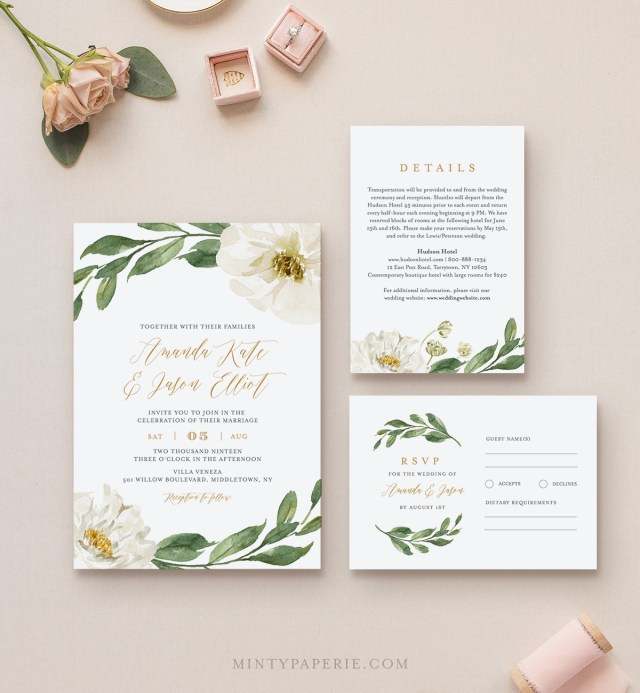 Wedding Invitation Editable Template Boho Greenery Wedding Invitation Suite 100 Editable Template