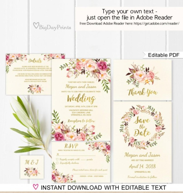 Wedding Invitation Editable Template Floral Wedding Invitation Template Ivory Boho Chic Wedding Invite
