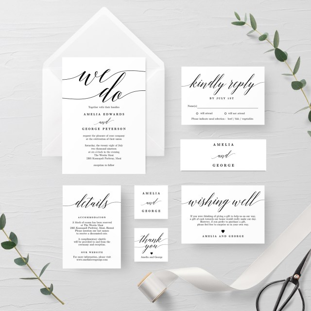 Wedding Invitation Editable Template Modern Script Wedding Invitation Suite Msc Berry Berry Sweet