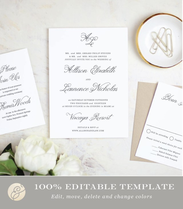 Wedding Invitation Editable Template Printable Wedding Invitation Template Simple Script Word Or