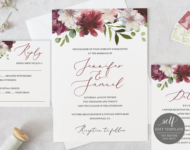 Wedding Invitation Editable Template Wedding Invitation Template Instant Download 100 Editable
