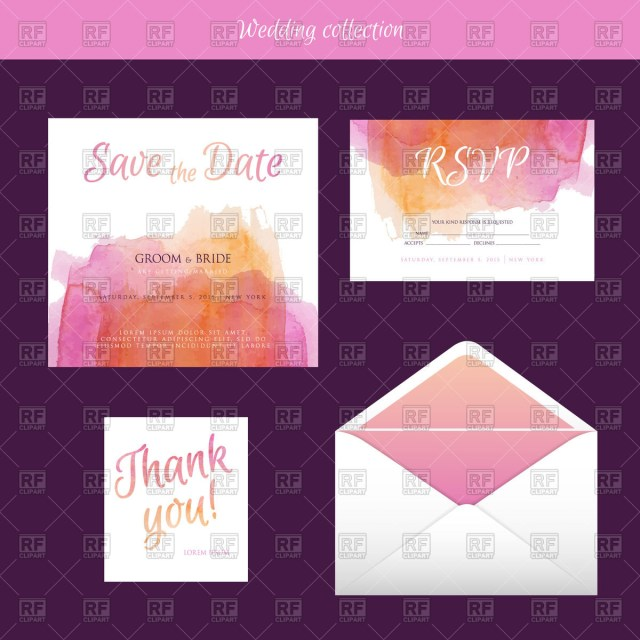Wedding Invitation Envelope Wedding Invitation And Envelope With Watercolor Design Vector Image