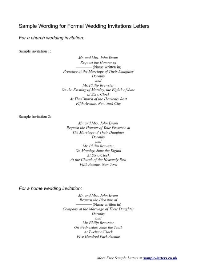 Wedding Invitation Examples Invitation Sample Sample Wording For Formal Wedding Invitations