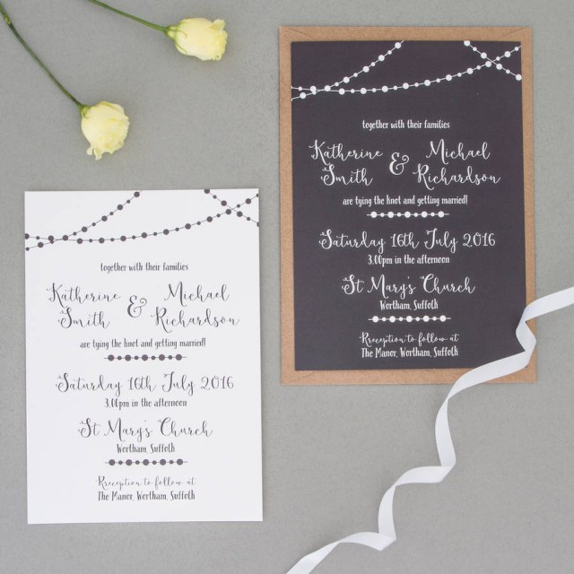Wedding Invitation Rsvp Fairy Light Wedding Invitation And Rsvp The Two Wagtails