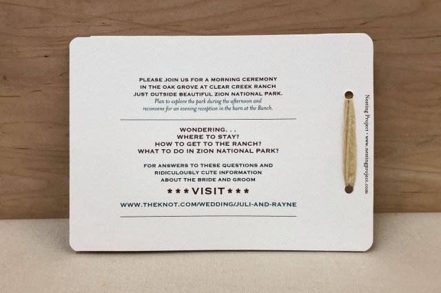 Wedding Invitation Rsvp Vintage Zion National Park 2 Page Livret Booklet Wedding Invitation