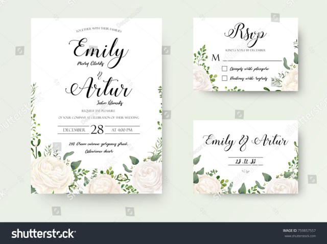 Wedding Invitation Rsvp Wedding Invitation Floral Invite Rsvp Cute Stock Vektorgrafik