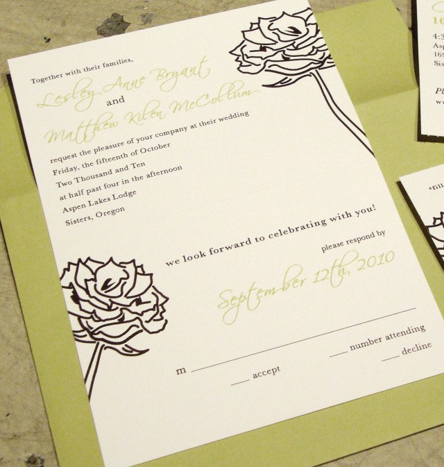 Wedding Invitation Rsvp Wedding Invitation Tear Off Rsvp Postcard Papercake Designs