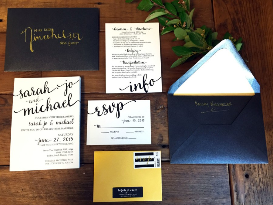 Wedding Invitation Suites Coordinating Wedding Invitation Suite Black White Gold Dakotachic