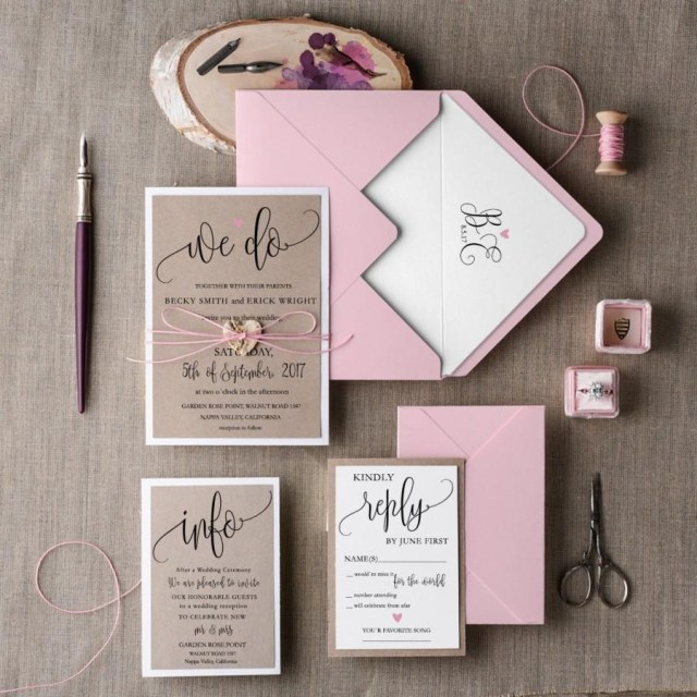 Wedding Invitation Suites Rustic Wedding Invitation Set 20 Wedding Invitation Suite Pink