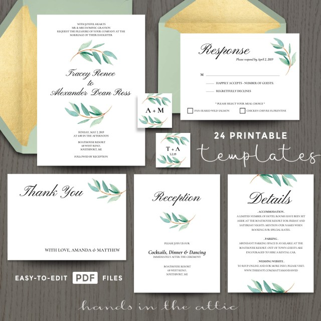 Wedding Invitation Template Free Eucalyptus Wedding Invitation Templates Printable Stationery