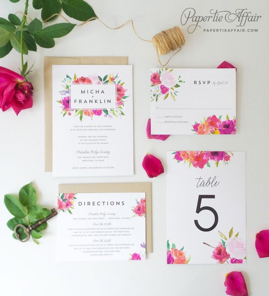 Wedding Invitations And Response Cards Floral Wedding Invitation Watercolor Floral Wedding Invitation