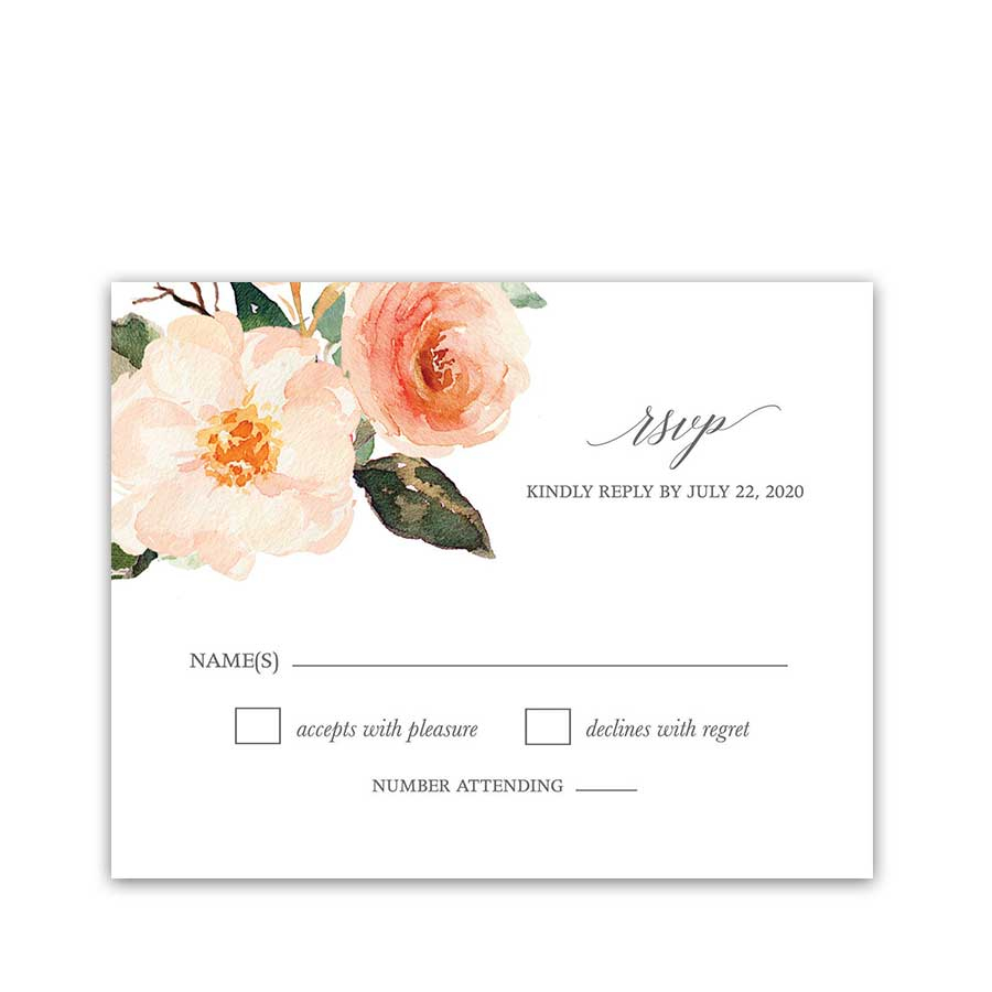 Wedding Invitations And Response Cards Wedding Rsvp Cards Peach Watercolor Floral Greenery