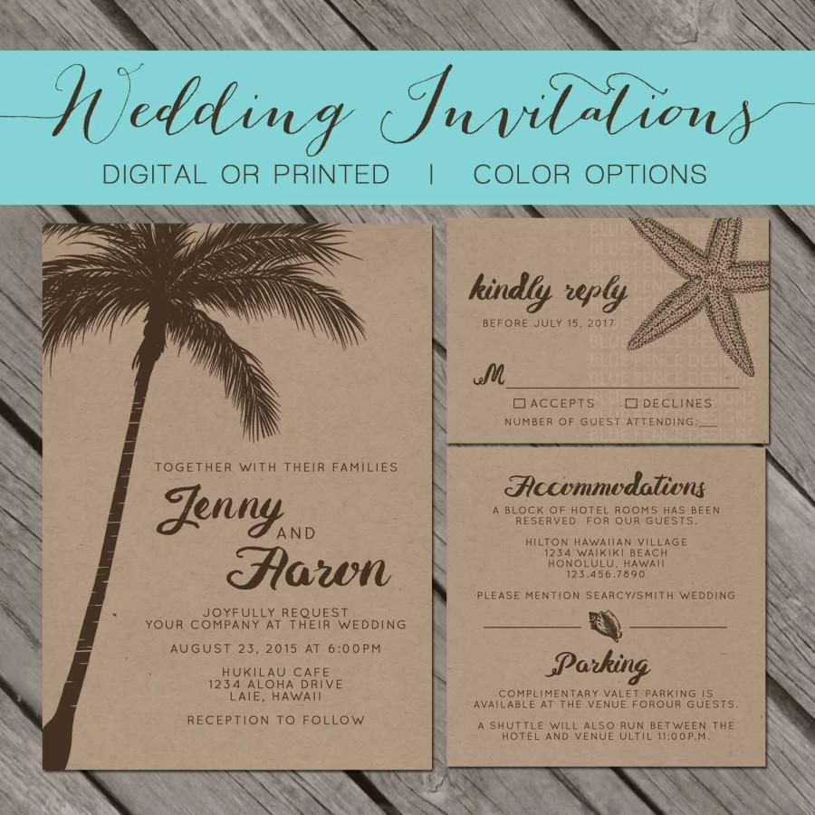 Wedding Invitations On Kraft Paper Beach Kraft Paper Wedding Invitation Palm Trees Island