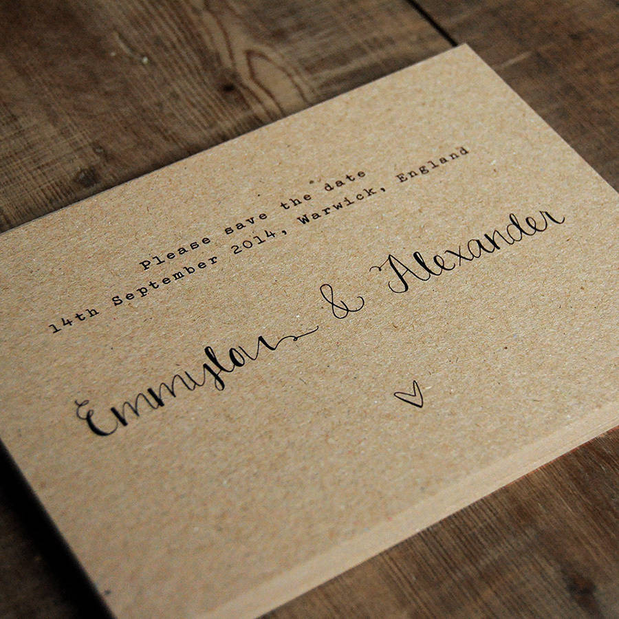 Wedding Invitations On Kraft Paper Calligraphy Kraft Wedding Invitation Feel Good Wedding