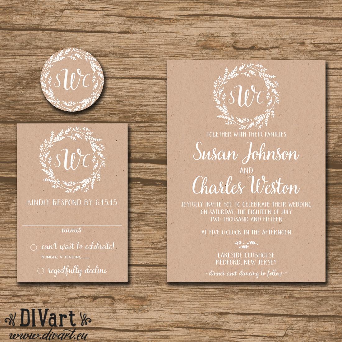 Wedding Invitations On Kraft Paper Rustic Wedding Invitation Suite Response Card Monogram Whimsical