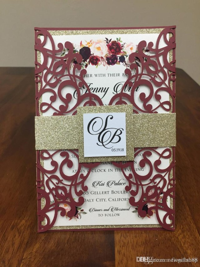 Wedding Invitations Sets Burgundy Lace Wedding Invites With Glitter Belly Band And Tag Diy