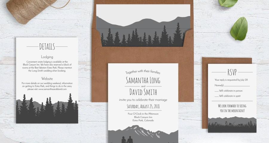 Wedding Invitations Sets Rustic Mountain Wedding Invitation Sets Wild Blue Weddings
