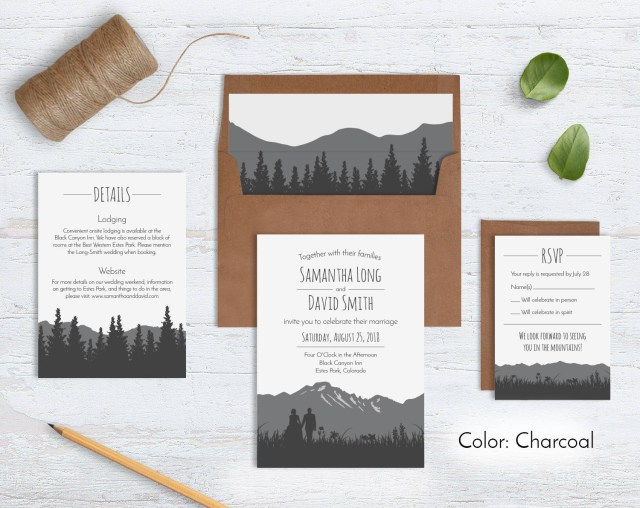 Wedding Invitations Sets Rustic Mountain Wedding Invitation Sets Wild Blue Weddings