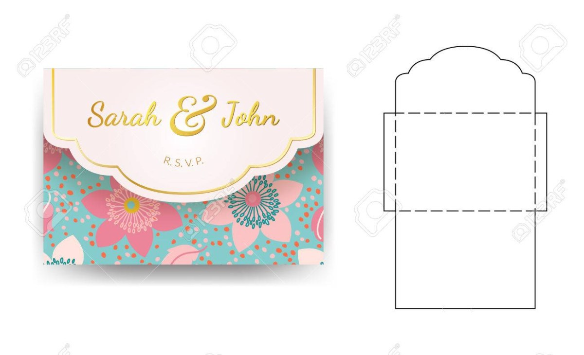 Wedding Invitations Template Envelope Wedding Invitation Template With Flower Pattern Can