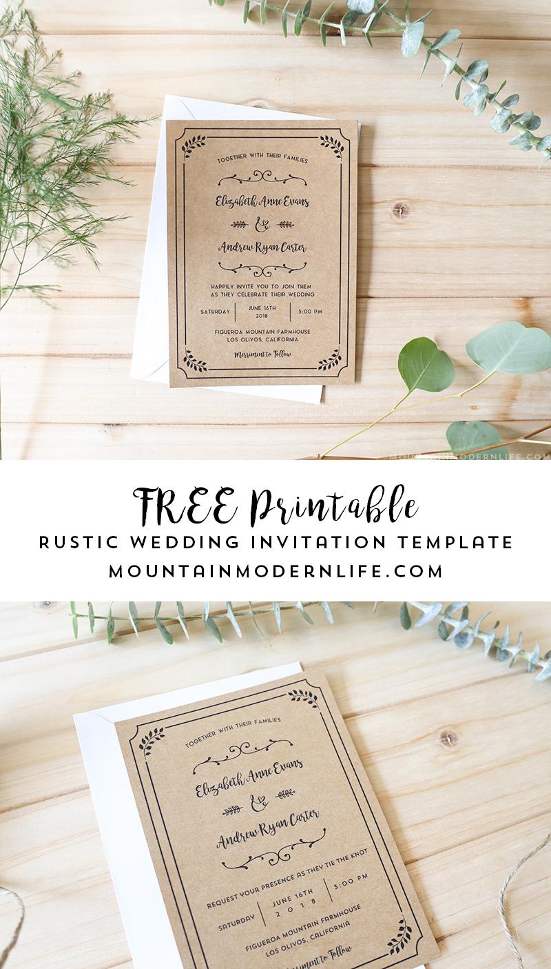 Wedding Invitations Template Free Printable Wedding Invitation Template