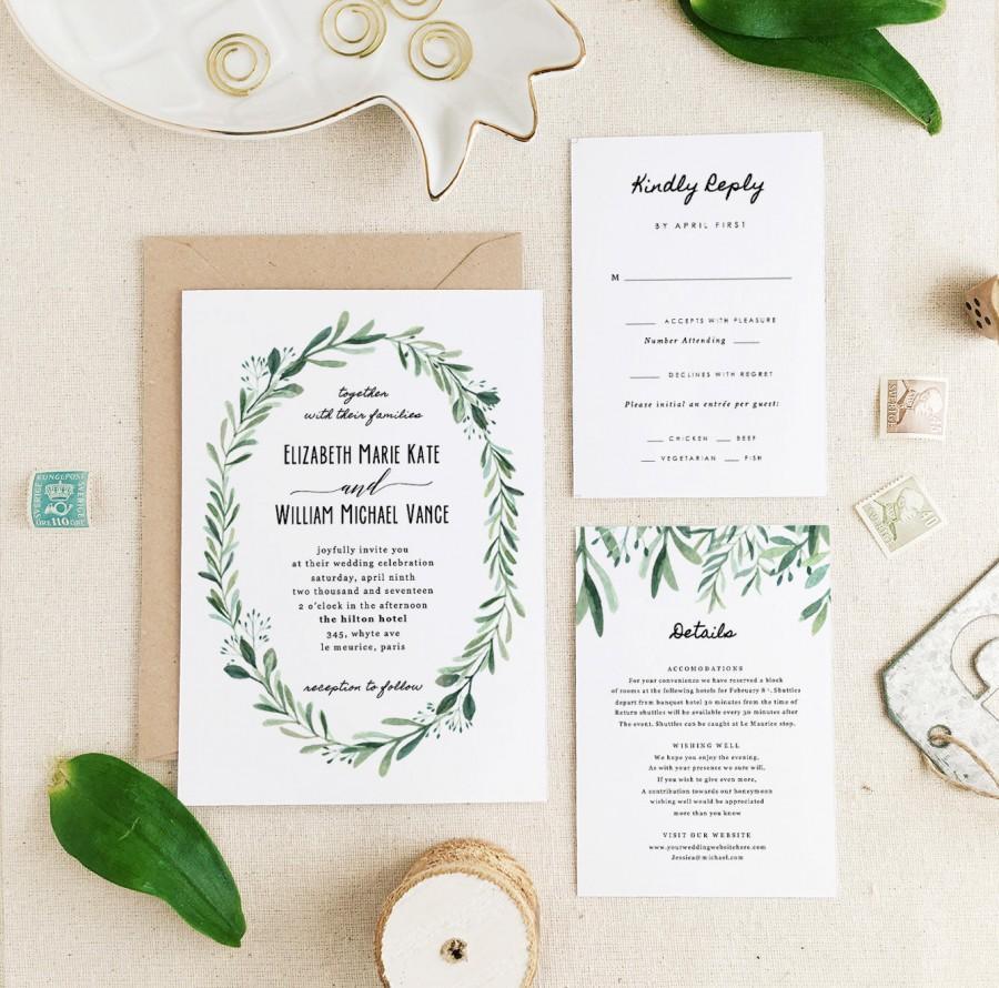 Wedding Invitations Template Greenery Wedding Invitation Template Printable Wedding Invitation