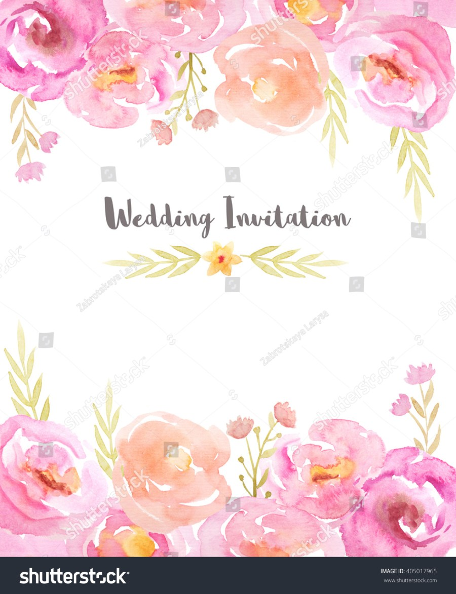 Wedding Invitations Template Wedding Invitation Template Hand Painted Watercolor