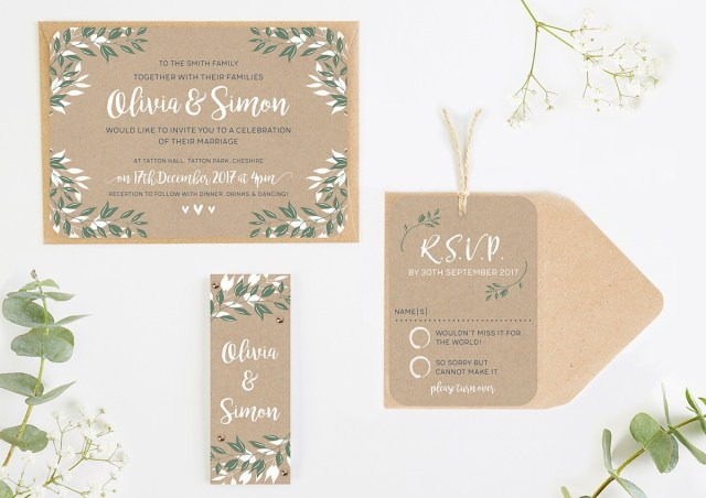 Wedding Invitations With Photo Botanical Rustic Kraft Wedding Invitations Normadorothy