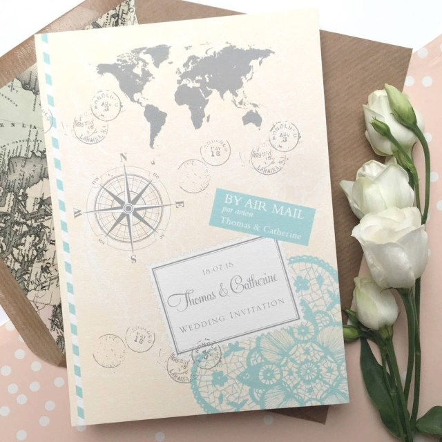 Wedding Invitations With Photo Love Travel Wedding Invitation Ditsy Chic Notonthehighstreet