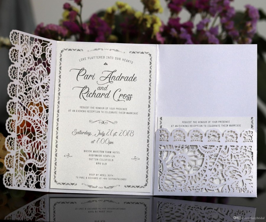Wedding Invitations With Rsvp Horizontal Laser Cut Wedding Invitations Cards With Rsvp Cards White