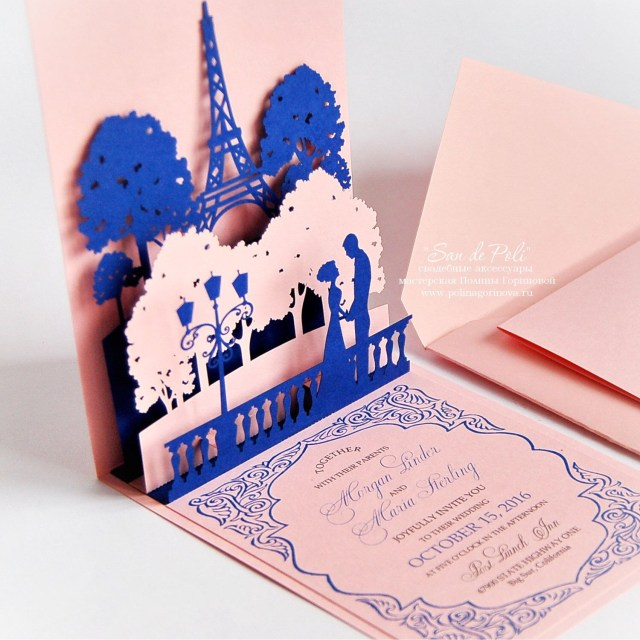 Wedding Pop Up Invitations Pop Up Wedding Invitations Lovers Of Paris Eiffel Tower Card