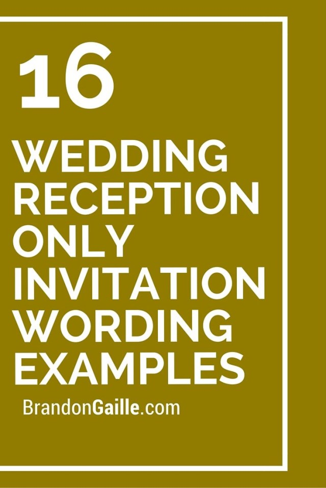 Wedding Reception Invitation 16 Wedding Reception Only Invitation Wording Examples Messages And