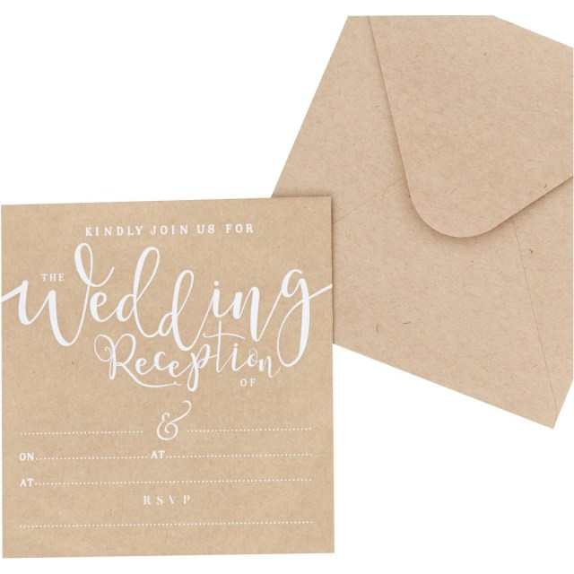 Wedding Reception Invitation Ginger Ray Kraft Wedding Reception Invitations 10 Pack Hobcraft