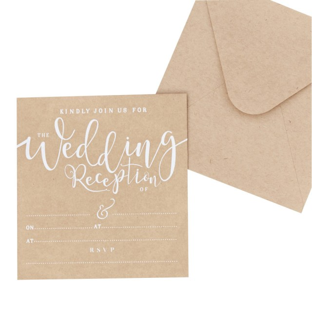 Wedding Reception Invitation Kraft Wedding Reception Evening Invitations 10 Pack Ginger Ray