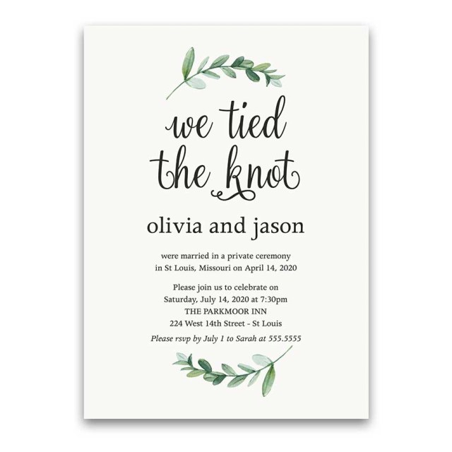Wedding Reception Invitation Reception Only Wedding Invitations Reception Only Greenery