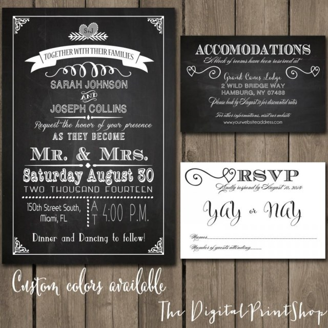 Wedding Reception Invitation Rustic Chic Wedding Reception Invitation Chalkboard Printable Modern