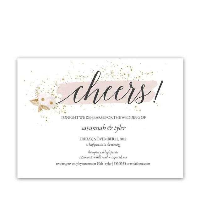 Wedding Rehearsal Dinner Invitations Blush Gold Wedding Rehearsal Dinner Invitations Cheers